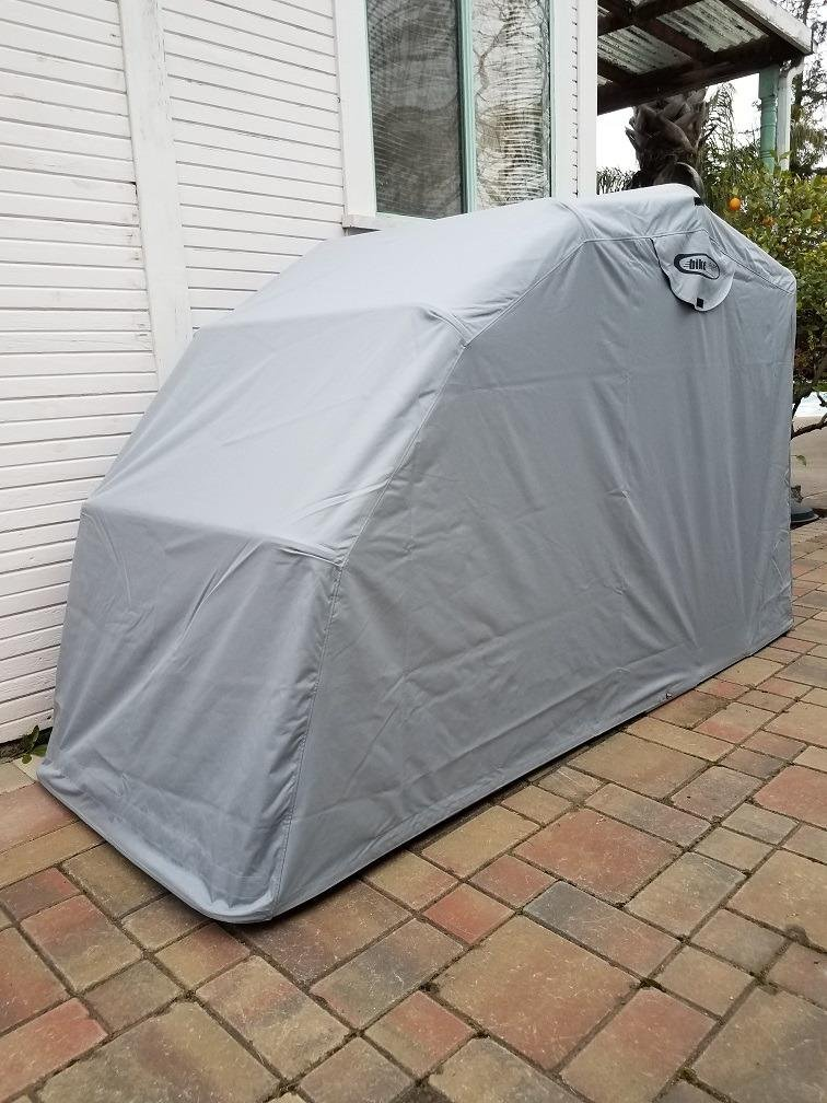 Hard Covered Bike Shelters : The bike shield motorcycle shelter garage shed